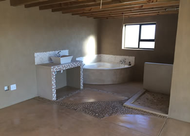 New bathroom done with the rustic Cemcrete finish
